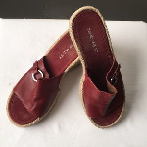 Nine West Wedge Red Sandals size 7